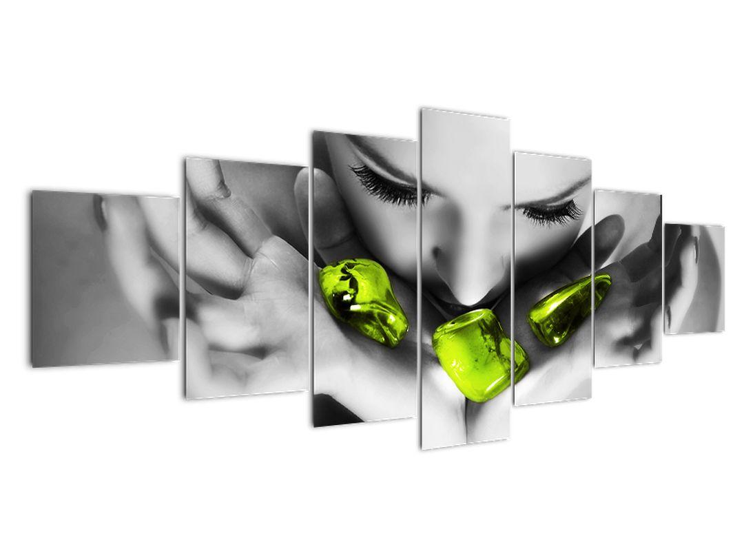 Moderna slika - zeleni kamni na dlani