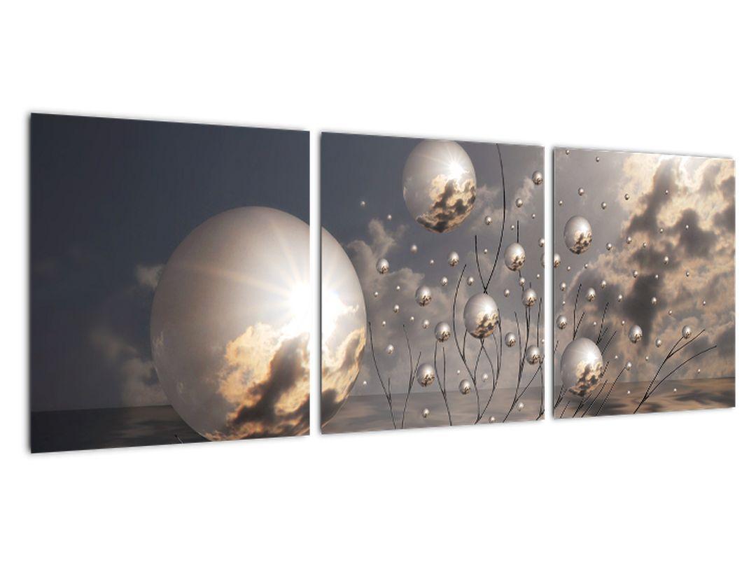 Abstraktna slika - siva krogla