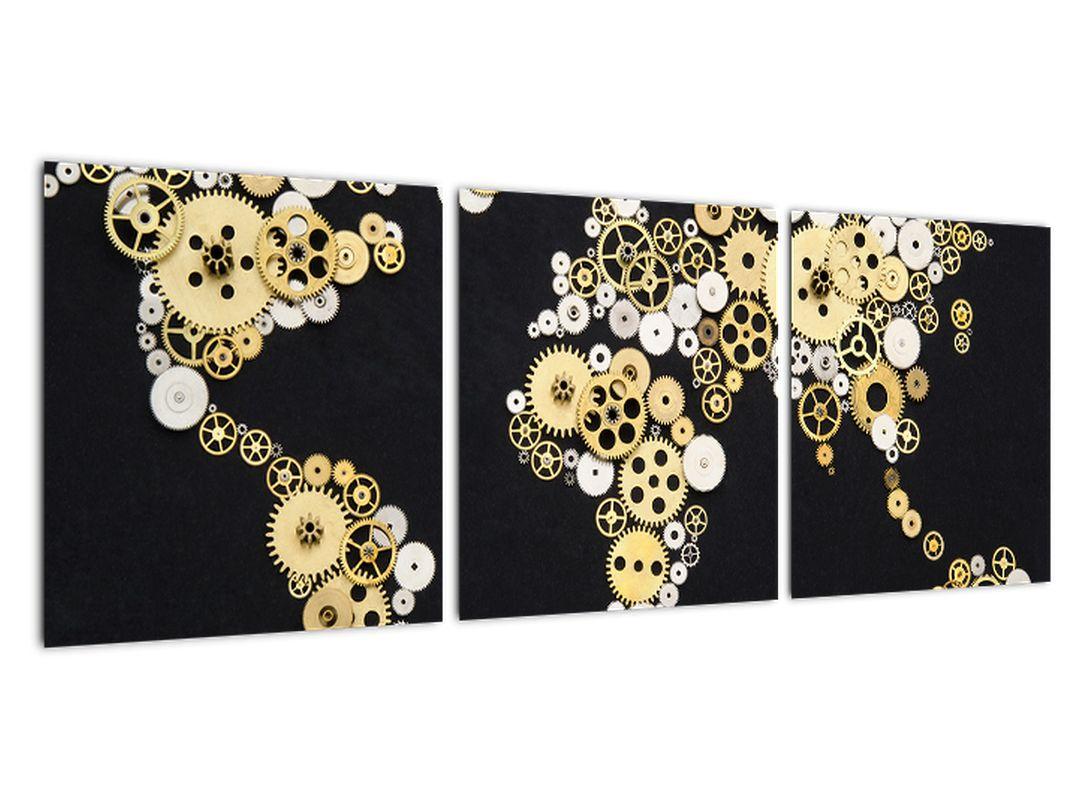 Zemljevid sveta iz zobnikov - slika na steni