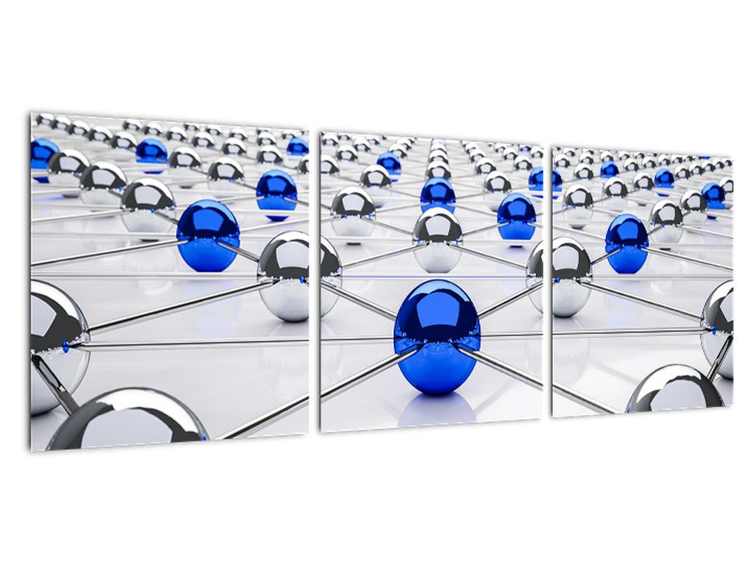 Modra krogla med srebrnimi - abstrakcija