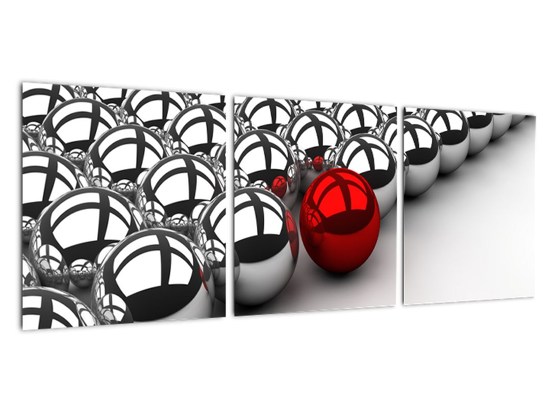 Slika - rdeča krogla med srebrnimi