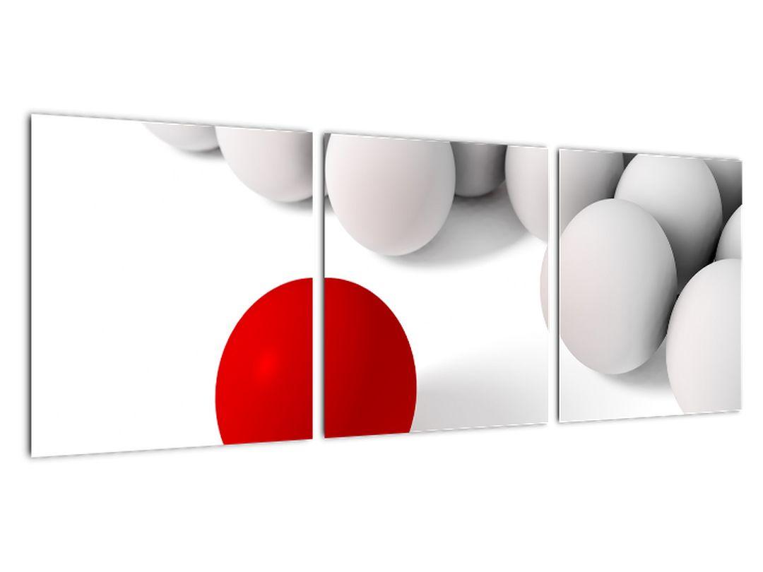 Rdeča krogla med belo - abstraktna slika