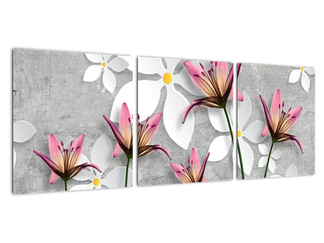 Abstraktna slika - rože na sivi podlagi