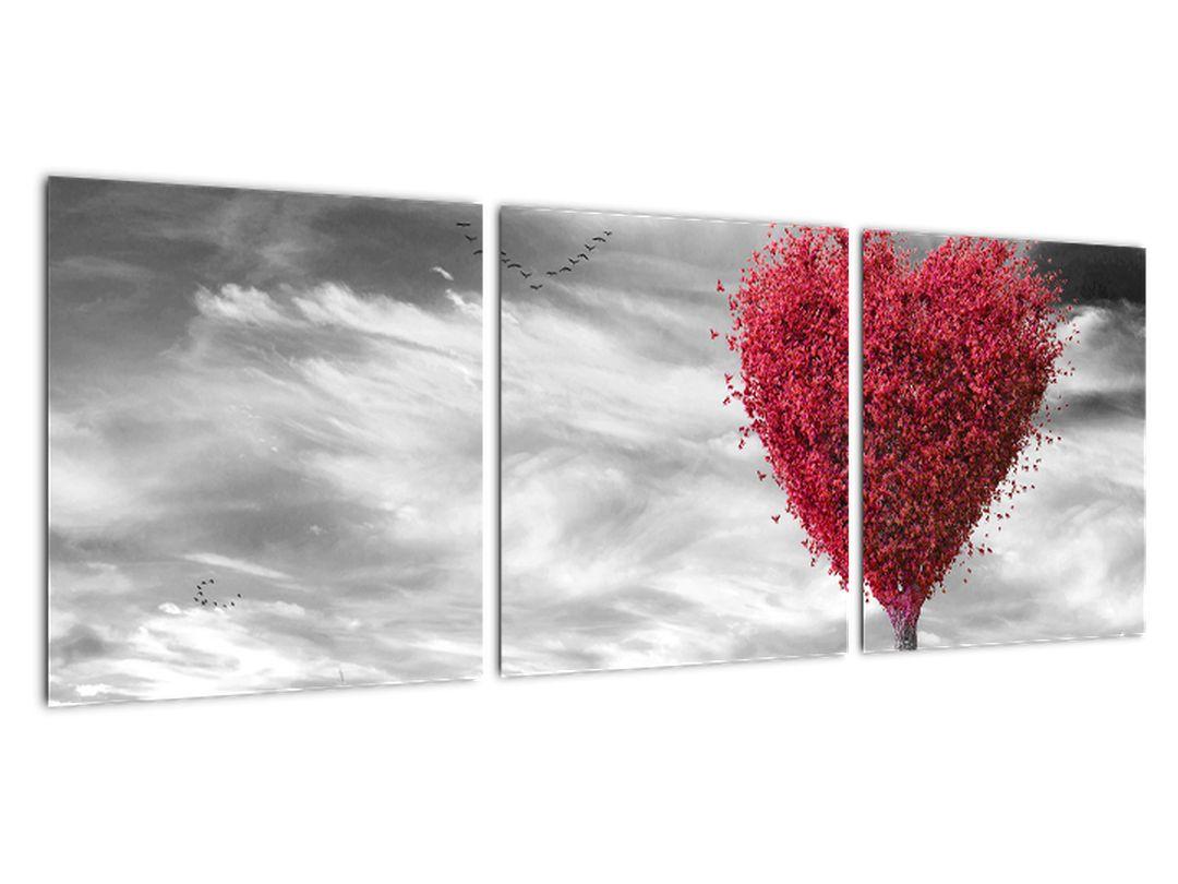 Slika - rdeče srce na travniku